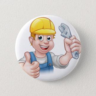 Cartoon-Charakter-Klempner oder Mechaniker Runder Button 5,1 Cm