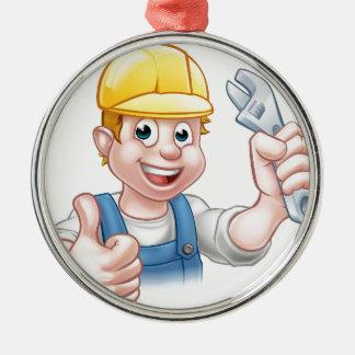 Cartoon-Charakter-Klempner oder Mechaniker Rundes Silberfarbenes Ornament