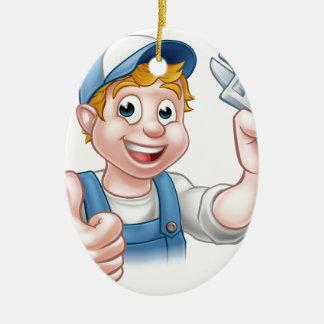 Cartoon-Charakter-Mechaniker oder Klempner Keramik Ornament