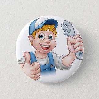 Cartoon-Charakter-Mechaniker oder Klempner Runder Button 5,7 Cm