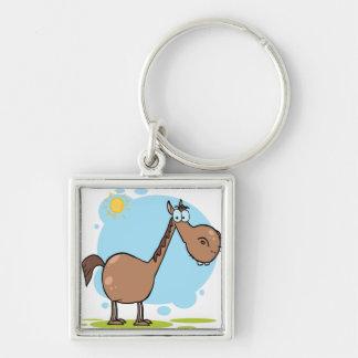 Cartoon-Charakter-Pferd Silberfarbener Quadratischer Schlüsselanhänger