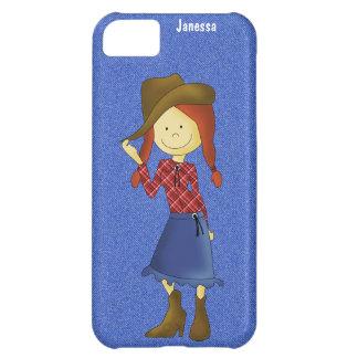Cartoon-Cowgirl auf Denim-und iPhone Kasten iPhone 5C Hülle