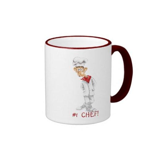 Cartoon des Koch mit lustigen Sprüchen Kaffee Tassen