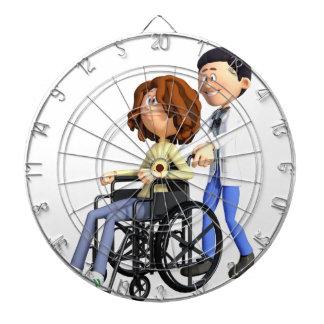 Cartoon-Doktor Wheeling Patient In Wheelchair Dartscheibe
