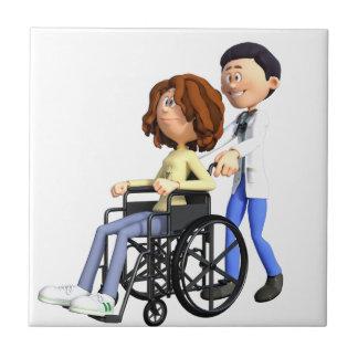 Cartoon-Doktor Wheeling Patient In Wheelchair Keramikfliese