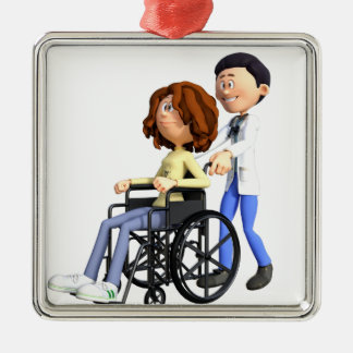 Cartoon-Doktor Wheeling Patient In Wheelchair Quadratisches Silberfarbenes Ornament
