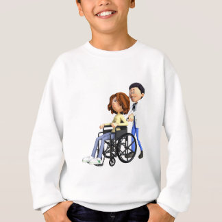 Cartoon-Doktor Wheeling Patient In Wheelchair Sweatshirt