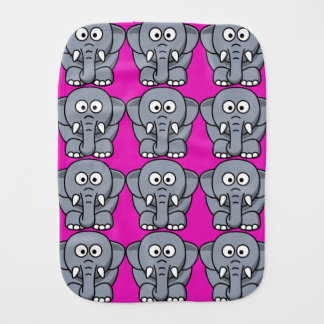 Cartoon-Elefant mit rosa Hintergrund Baby Spucktuch