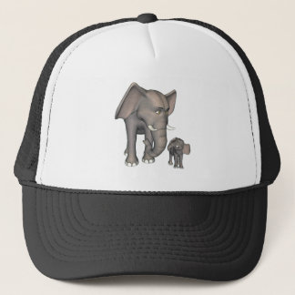Cartoon-Elefant-Mutter und Sohn Truckerkappe