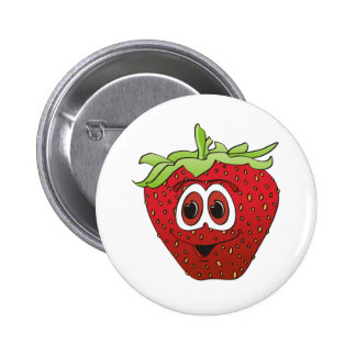 Cartoon-Erdbeere Runder Button 5,1 Cm
