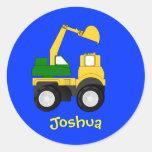 Cartoon Excavator - Personalized Name Gift Round Sticker