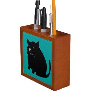 Cartoon-fetter schwarze Katzen-lächelnder