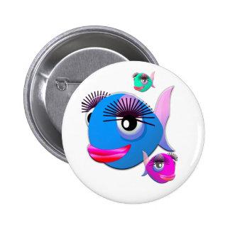 Cartoon-Fische mit den großen Lippen und den Eyela Anstecknadelbuttons
