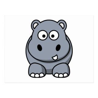 Cartoon-Flusspferd Postkarte