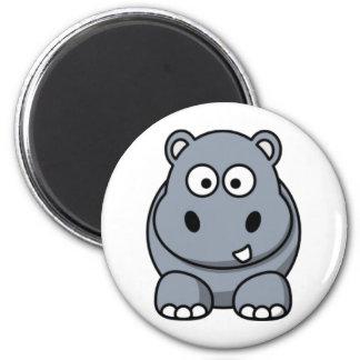 Cartoon-Flusspferd Runder Magnet 5,1 Cm