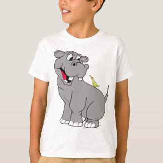 Cartoon-Flusspferd und Vogel-Freund-T - Shirt