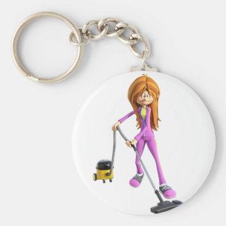 Cartoon-Frau, die ein Vakuum verwendet Schlüsselanhänger