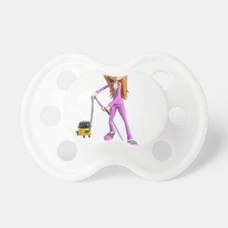 Cartoon-Frau, die ein Vakuum verwendet Schnuller