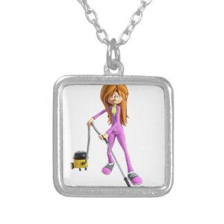 Cartoon-Frau, die ein Vakuum verwendet Versilberte Kette