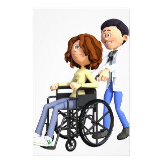 Cartoon-Frau im Rollstuhl mit Doktor Briefpapier
