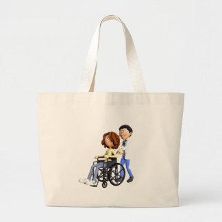 Cartoon-Frau im Rollstuhl mit Doktor Jumbo Stoffbeutel
