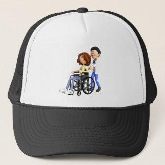 Cartoon-Frau im Rollstuhl mit Doktor Truckerkappe