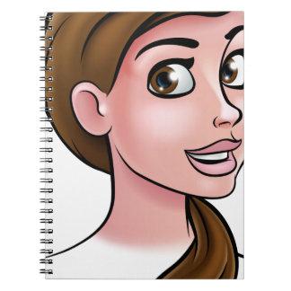 Cartoon-Frauen-Gesicht Notizblock