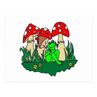 Cartoon-Frosch und Pilze Postkarten
