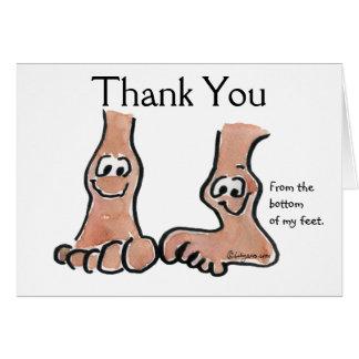 Cartoon-Füße danken Ihnen Gruß-Karte Mitteilungskarte