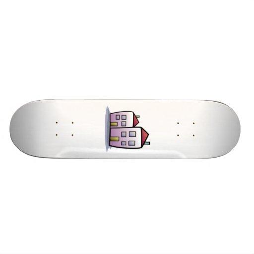 Cartoon-Gebäude Skateboard Bretter