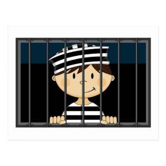 Cartoon-Gefangener in der Gefängnis-Zelle Postkarte