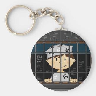 Cartoon-Gefangener in der Gefängnis-Zelle Schlüsselanhänger