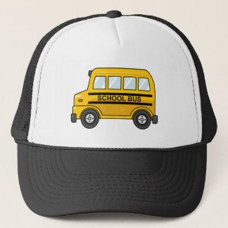 Cartoon-gelber und schwarzer Schulbus Truckerkappe