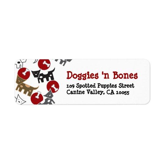 Cartoon-gepunktete Hündchen-u. Knochen-niedliche Rückversand-Adressaufkleber