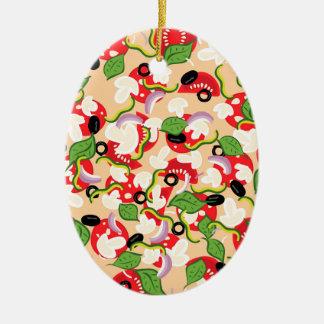 Cartoon geschmackvolles Pizza2 Keramik Ornament