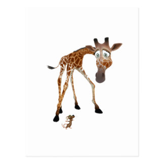 Cartoon-Giraffe und Maus Postkarten