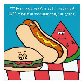 Cartoon GRILLEN NahrungsmittelParty Einladungen