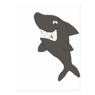 Cartoon-Haifisch mit Nahrung in den Zähnen Postkarte