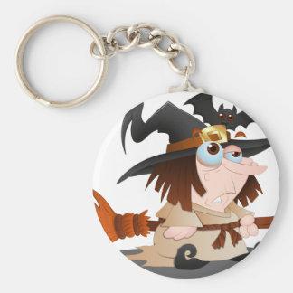 Cartoon-Halloween-Hexe Schlüsselanhänger