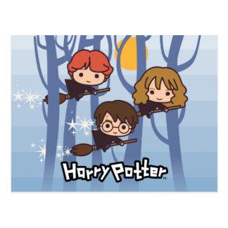 Cartoon Harry, Ron u. Hermione Fliegen im Holz Postkarte