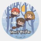 Cartoon Harry, Ron u. Hermione Fliegen im Holz Runder Aufkleber