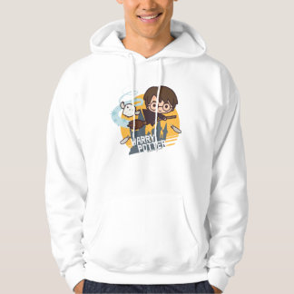 Cartoon Harry und Hedwig-Fliegen hinter Hogwarts Hoodie