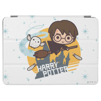 Cartoon Harry und Hedwig-Fliegen hinter Hogwarts iPad Air Hülle