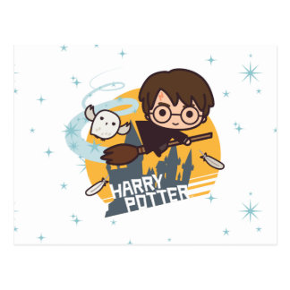 Cartoon Harry und Hedwig-Fliegen hinter Hogwarts Postkarte