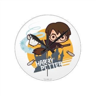 Cartoon Harry und Hedwig-Fliegen hinter Hogwarts Runde Wanduhr