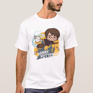 Cartoon Harry und Hedwig-Fliegen hinter Hogwarts T-Shirt