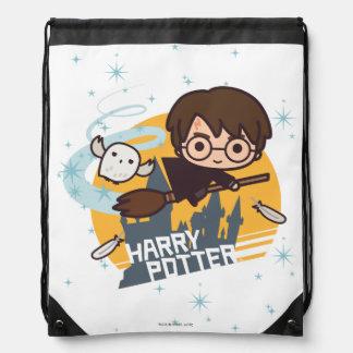 Cartoon Harry und Hedwig-Fliegen hinter Hogwarts Turnbeutel