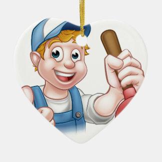 Cartoon-Heimwerker-Klempner, der Kolben hält Keramik Ornament