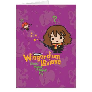 Cartoon Hermione und Bann Ron Wingardium Leviosa Karte