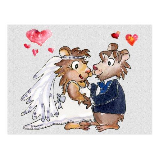 Cartoon-Hochzeits-Paar-Save the Date Postkarten